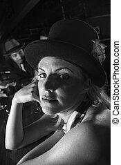 Retro woman at bar. - Caucasian prime adult retro female...