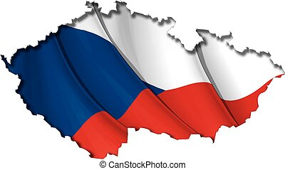 Czech Map-Flag - Czech map cut-out, highly detailed on the...