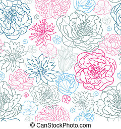 Gray and pink lineart floral seamless pattern background