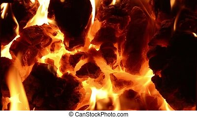 Burning coal in the stove. Full HD. - Burning coal. Close up...