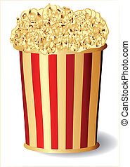 popcorn - Popcorm bucket with popcorn snack. 10 EPS