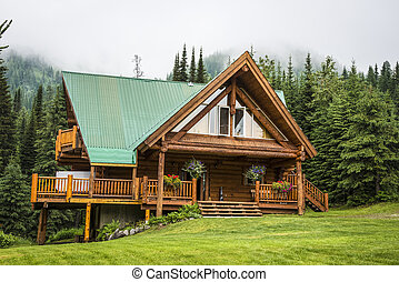 Contemporary log cabin lodge - Modern log cabin lodge with...