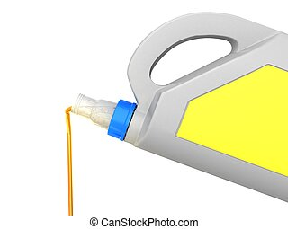 Jerrycan with car engine oil - isolated