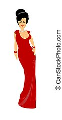 woman in low cut evening gown - refined looking lady in red...