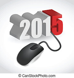 computer mouse connected to 2015 illustration