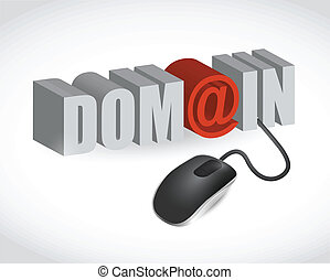 domain text sign and mouse illustration design over white