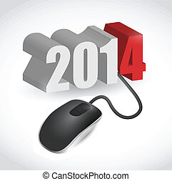 2014 sign connected to mouse illustration