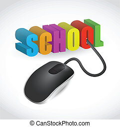 school sign and mouse illustration design