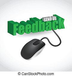 feedback sign and mouse illustration design over white
