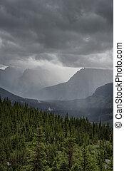 Heavy rain at Logan Pass, Glacier National Park - Big...