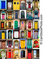 Doors - Colorful collage of variety of doors
