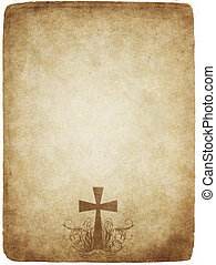 cross on old parchment - cross on old worn and grungy...