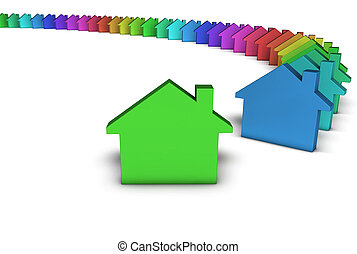 Green House Icon Colorful Concept - Creative house services...