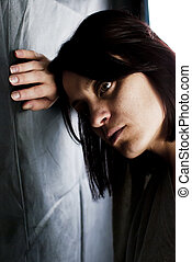 sad abused woman - conceptual portrait of stressed abused...