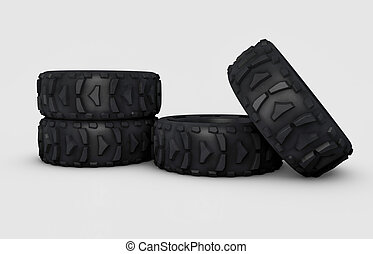 off-road wheels - illustration and isolated 3d off-road...