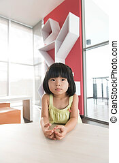 Asian child - Portrait of little Asian child girl indoor