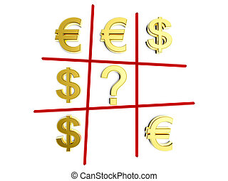 tick-tack-toe game in opposition dollar and euro
