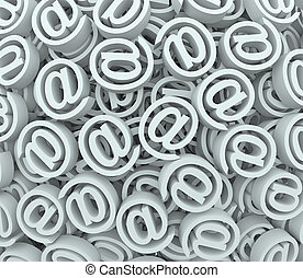 @ Sign At Email Symbol Background Send Receive Messages - A...