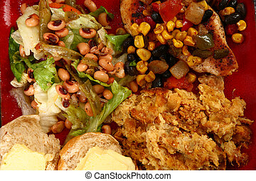 Santa Fe Chicken Meal - Lettuce, black-eyed peas, and green...
