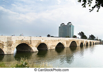 Sabanci Center Mosque in Adana - Historical stone bridge in...