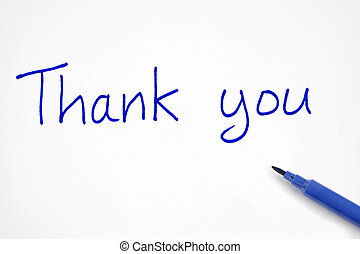 Thank you - Thank you, written with a blue felt tip pen