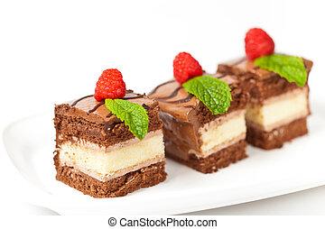 Three Layers Chocolate Cake - Chocolate Fudge Stripe 3 Layer...