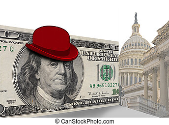 Funny hat in Washington D.C. - Red hat on hundred dollar...