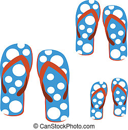 sandals - family's sandals on white background