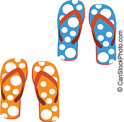 sandals - set sandals on white background