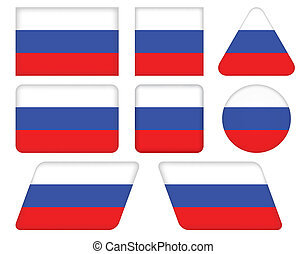 buttons with flag of Russia - set of buttons with flag of...