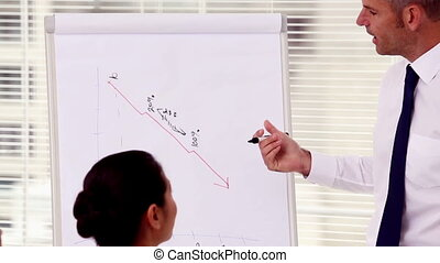 Businessman pointing at decreasing chart on a whiteboard...