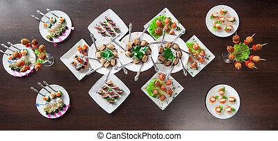 Lotes, delicioso, nutritivo, Aperitivos, tabla