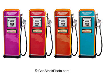 several color of old classic oil distributor in gasoline...