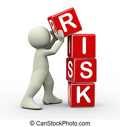 3d man placing risk cubes - 3d render of person placing risk...