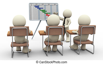 3d man gantt chart presentation - 3d render of businessman...