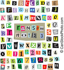 Vector Ransom Note #3- Cut Paper Letters, Numbers, Symbols -...