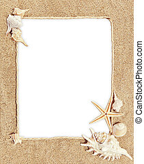 frame motif sea - frame with sea shells and sand as...