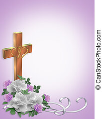 Christian Wedding invitation Cross - Image and illustration...