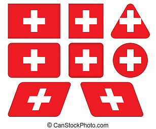 buttons with flag of Switzerland