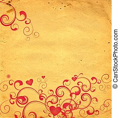 yellow old paper background with red hearts and flourishes