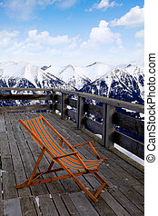 lounge chair at ski resortAlps - lounge chair at mountain...