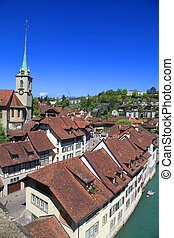 old houses of Bern , Switzerland - Vintage brown tiled...
