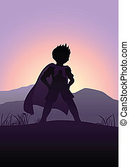 Superhero Silhouette - Silhouette illustration of a kid...