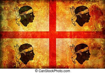 sardinia flag - old vintage flag of sardinia region in italy