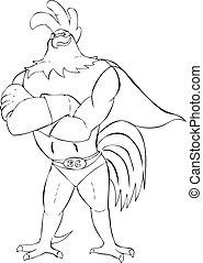 Super Rooster - Outline illustration of super rooster