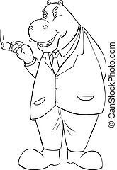 Big Boss - Outline illustration of a hippopotamus smoking a...