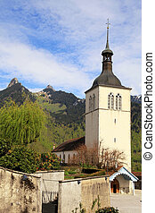 Church of Gruyeres, Switzerland - Church of Gruyeres and...