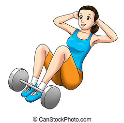 Fitness Sit Up - Cartoon illustration of a woman doing sit...
