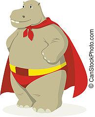 Hippo Superhero - Cartoon illustration of a hippopotamus as...