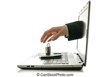Online security - Male hand coming out of laptop monitor...